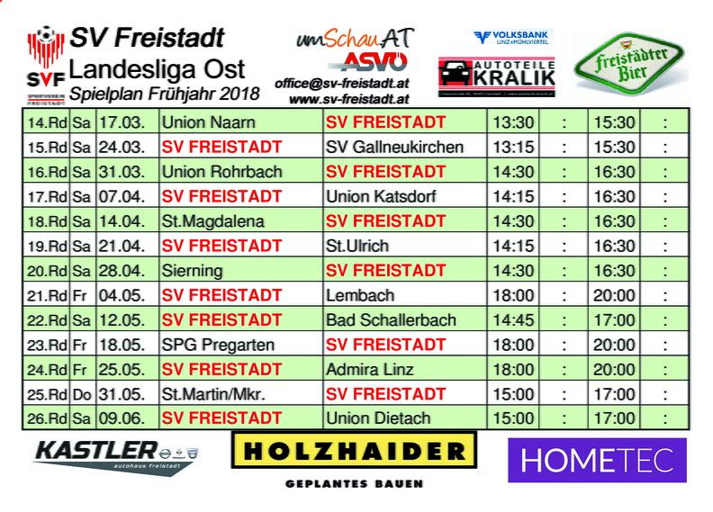Grafik Spielplan SV Freistädter Bier Landesliga Ost Frühjahr 2018