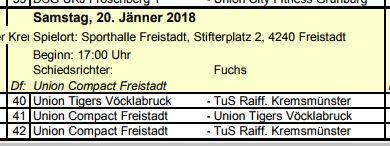 Grafik  Spielpaarungrn FBL in Freistadt am 20.01.2018