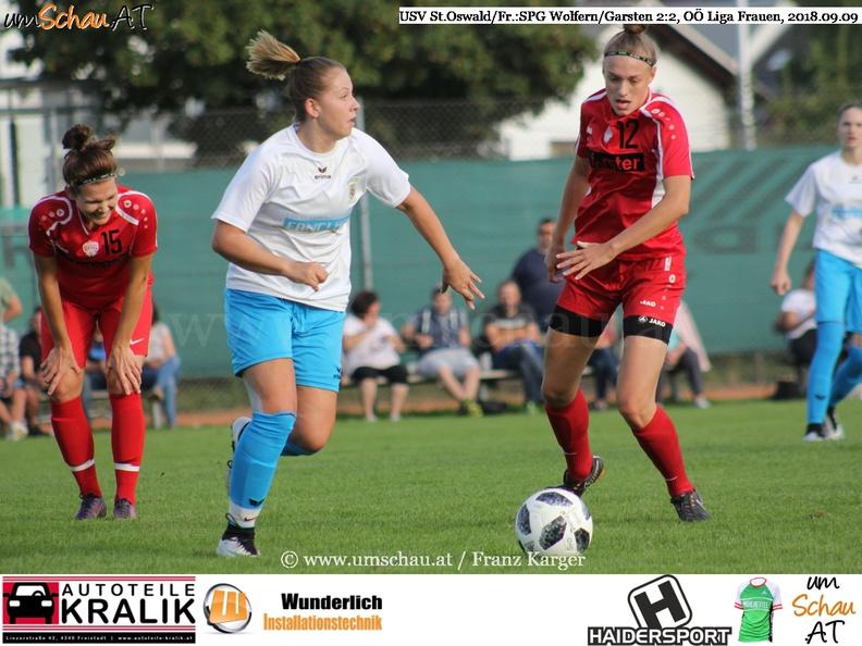 Foto Spielszene USV St.Oswald/Fr. : SPG Wolfern/Garsten Damen Lea Pilgerstorfer