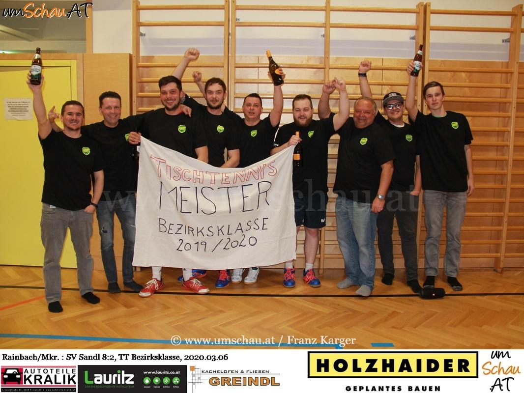Foto Union Rainbach Meister Tischtennis Bezirksklasse